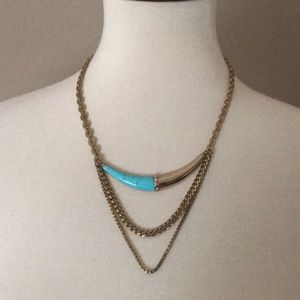 Silpada multi layered turquoise and gold necklace